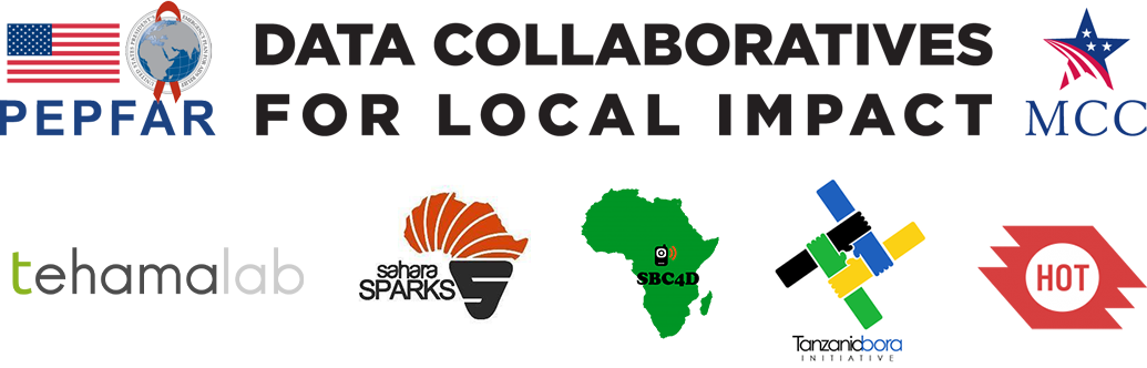 Logos for PEPFAR, Data Collaboratives for Local Impact, MCC, Tehamalab, Sahara Sparks, SBC4D, Tanzania Bora Initiative, and HOT