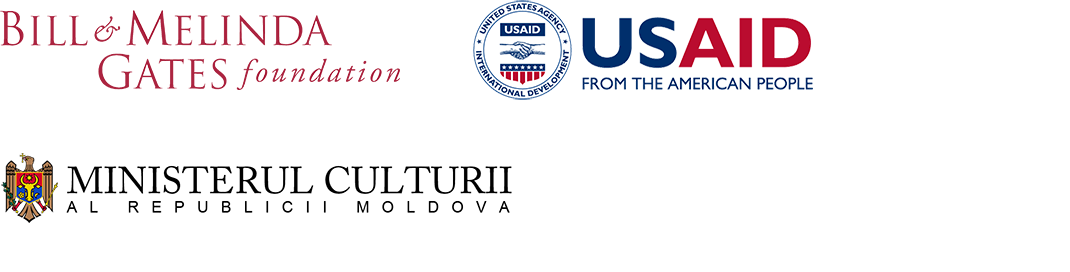 Logos of the Bill & Melinda Gates Foundation, USAID, and the Moldovan Ministry of Culture