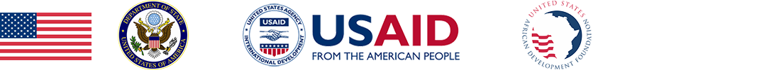 US flag, US Department of State seal, and logos for USAID and USADF