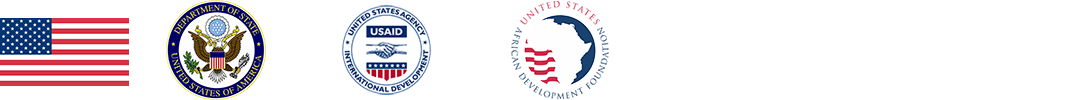 U.S. flag, U.S. Department of State seal, and logos for USAID and USADF
