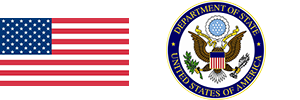 US flag and Department of State seal.