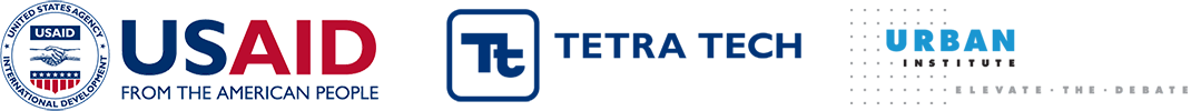 USAID's logo, Tetra Tech's logo, and Urban Institute's logo