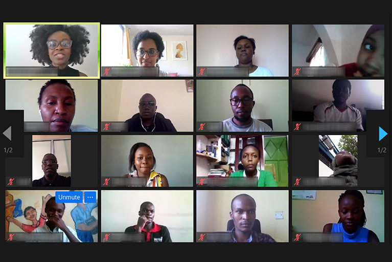 Screenshot of 16 people on a video call.