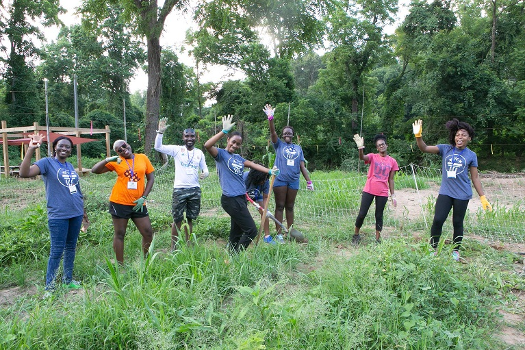 Fellows participating in community service