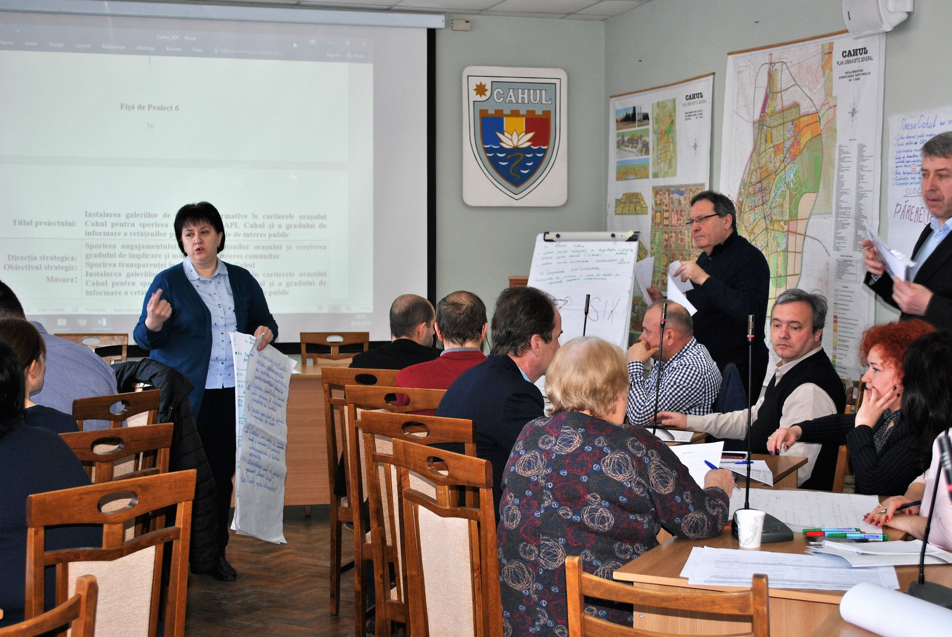 Photo of a public hearing on municipal budgeting process in Moldova