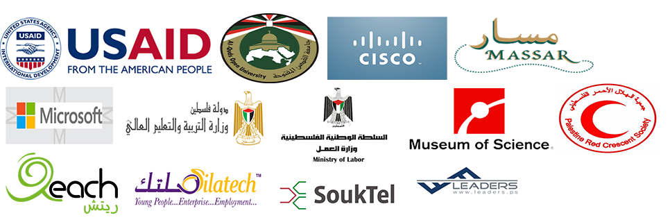 Logos of numerous partner organizations, including USAID, Cisco, Massar, Microsoft, the Palestine Red Crescent Society, and SoukTel.