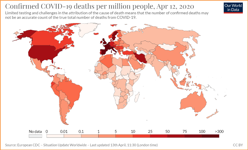 World map that shows number of COVID-19 cases per million people with darker colors representing more cases and lighter colors representing fewer