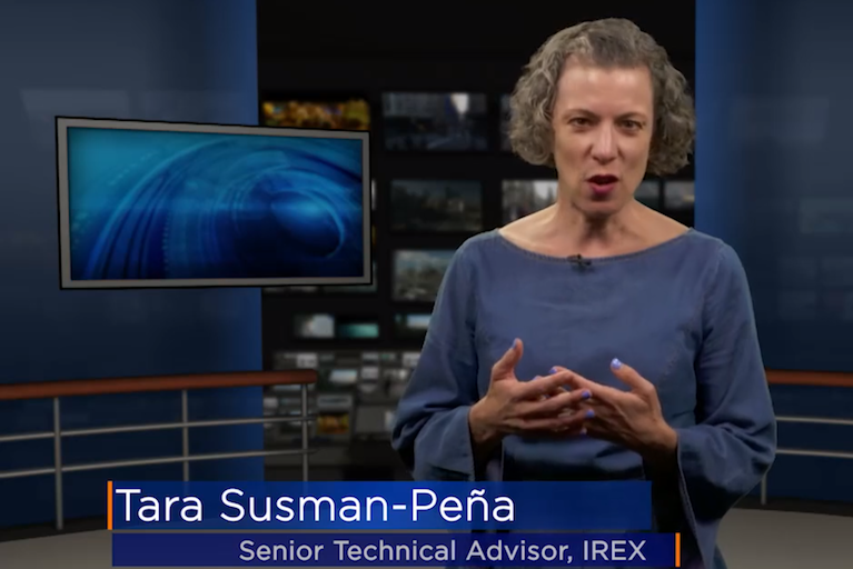 Tara Susman-Peña speaks to viewers during the online course