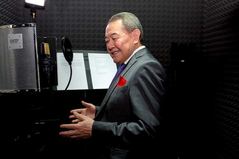 Nazarkul Ishekeev tests the Central Asia Design Hub's new voice-over dubbing station.
