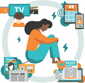 Graphic of woman surrounded by different media types