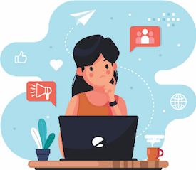 Graphic of woman using computer and thinking
