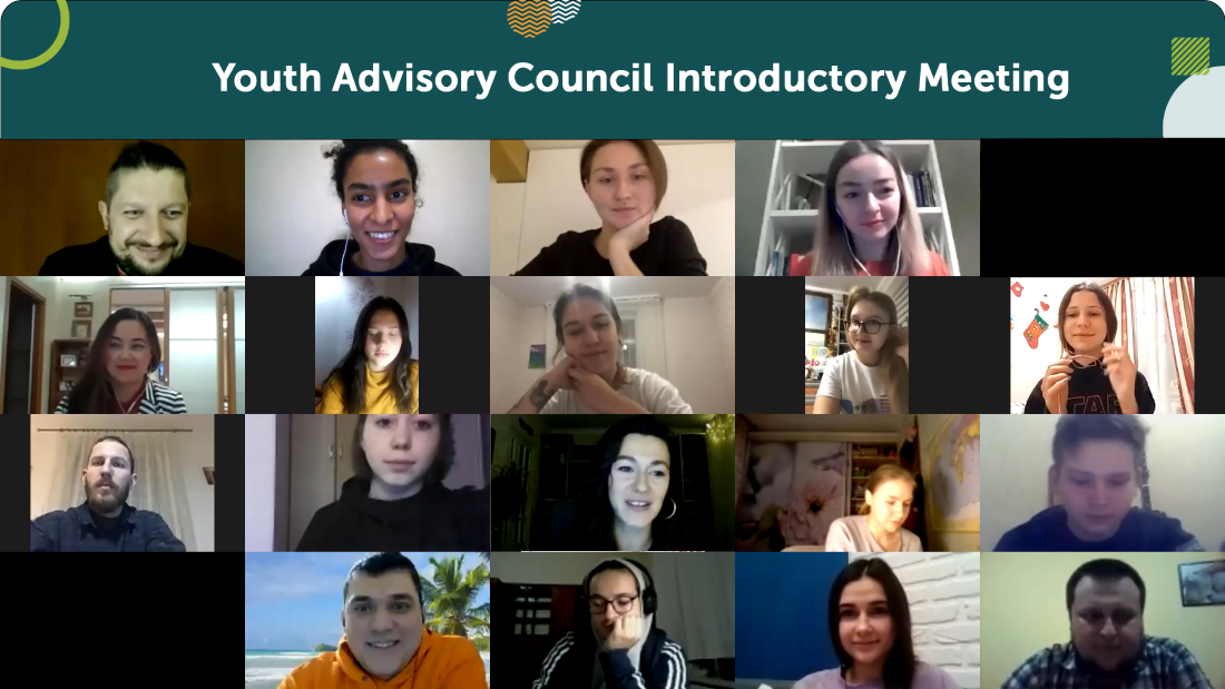 Screenshot of the UNITY Youth Advisory Council introductory virtual meeting on Zoom.