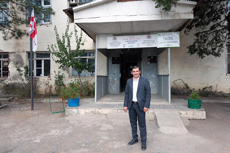 Principal Vusal Bairamov of Jandara Public School in Marneuli, Georgia