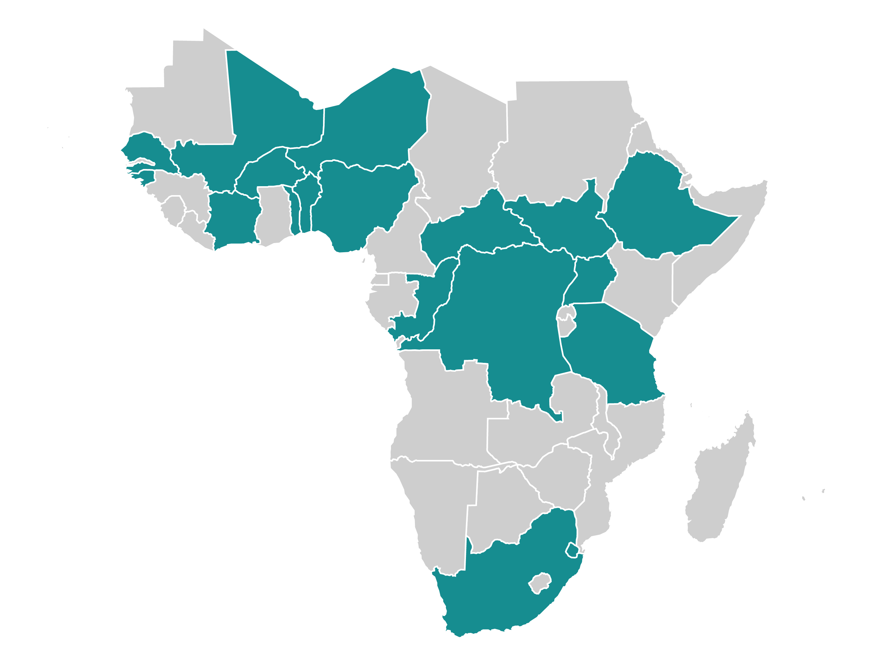 A map of Sub-Saharan Africa, with the following countries highlighted: Benin, Burkina Faso, Cote d'Ivoire, Central African Republic, Democratic Republic of the Congo, Ethiopia, Guinea-Bissau, Mali, Niger, Nigeria, Republic of Congo, Senegal, South Africa, South Sudan, Tanzania, Togo, and Uganda.