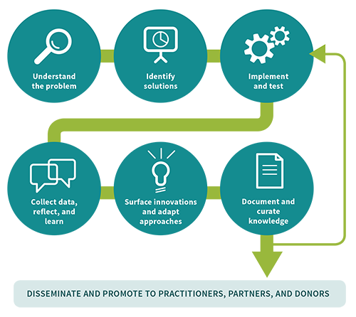 Diagram of IREX's applied learning process: Understand the problem; identify solutions; implement and test; collect data, reflect, and learn; surface innovations and adapt approaches; document and curate knowledge; disseminate and promote to practitioners, partners, and donors
