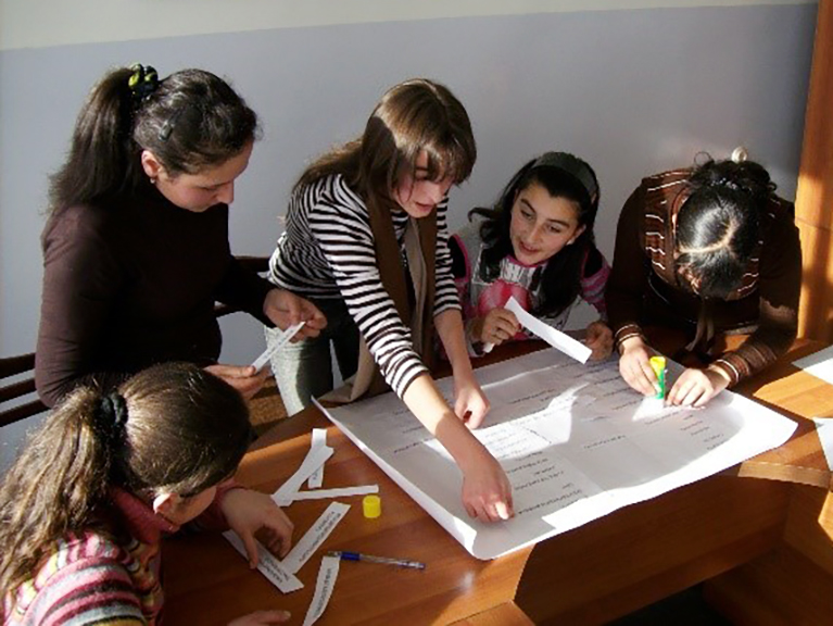 Girls participating in a human-centered design activity