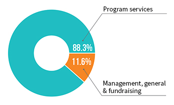 83.3%; program services: 11.6%: management, general, and fundraising