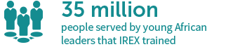 35 million people served by young African leaders that IREX trained