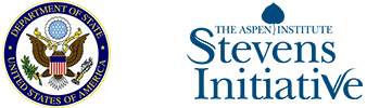 US Department of State seal, logo of the Aspen Institute Stevens Initiative