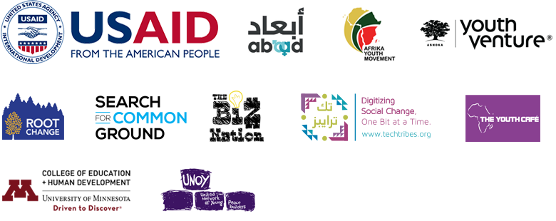 Logos: USAID, ABAAD, Afrika Youth Movement, Ashoka Youth Venture, Root Change, Search for Common Ground, The Biz Nation, Tech Tribes, The Youth Cafe, University of Minnesota Colelge of Education and Human Development, and United Network of Young Peacebuilders.