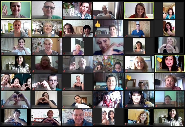 Online video call with 42 people.