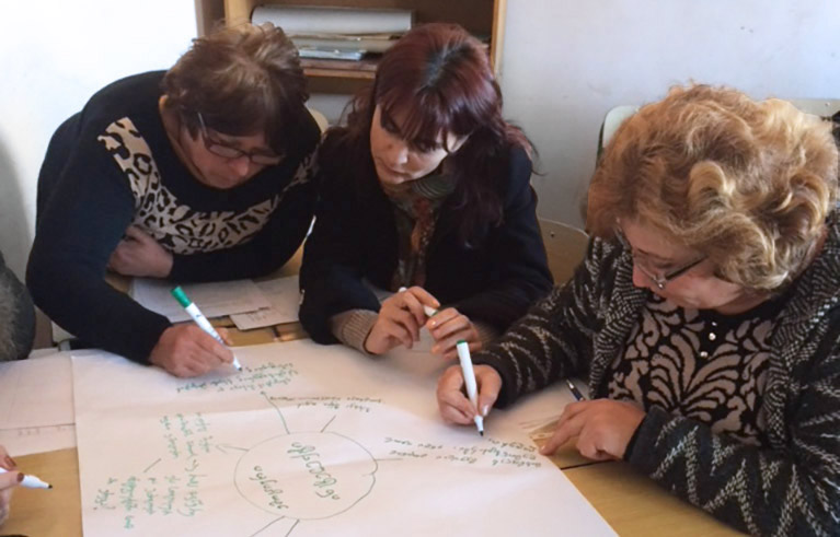 Photo of three teachers doing a mind-mapping exercise with paper and markers at a table