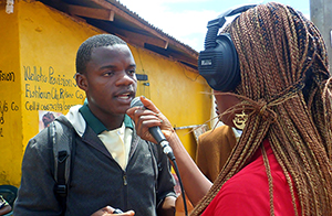 A journalist conducting an interview