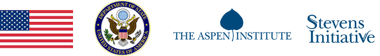 U.S. Flag, U.S. Department of State Seal, The Aspen Institute, Stevens Initiative logos