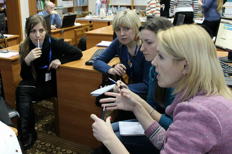 Meeting in a library in Ukraine