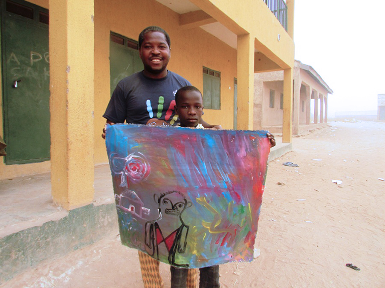 Painting helped Abubakar overcome the trauma of fleeing his home