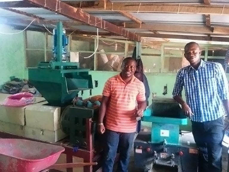 Mandela Washington Fellows James Mulbah and Fombah Kanneh at the Green Center, Liberia's first waste segregation and recycling center