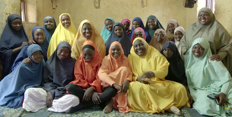 Habiba Mohammed with some of the girls and young women at Mohammed's Center for Girls Education
