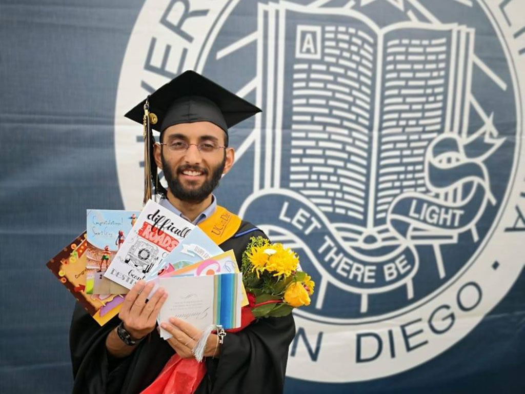 Photo of Muhammed Haseeb graduating at San Diego State University