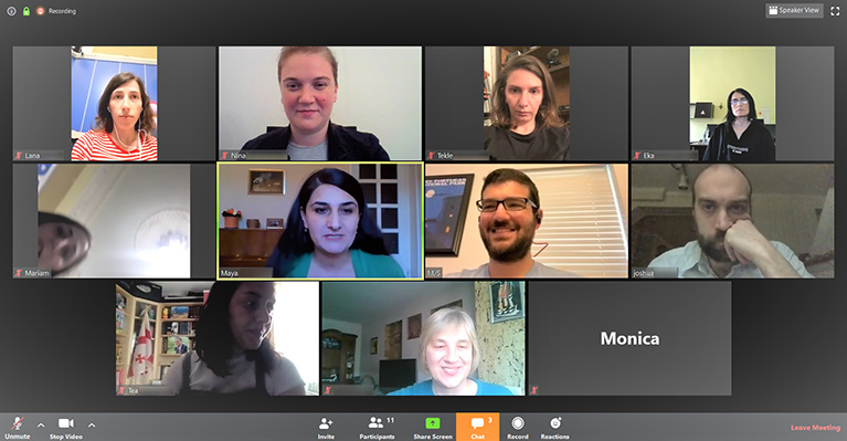Screenshot of a video call with 11 participants.