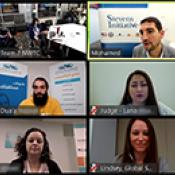 Screenshot of a video conference. The screenshot shows the participants in a 3-by-2 grid.