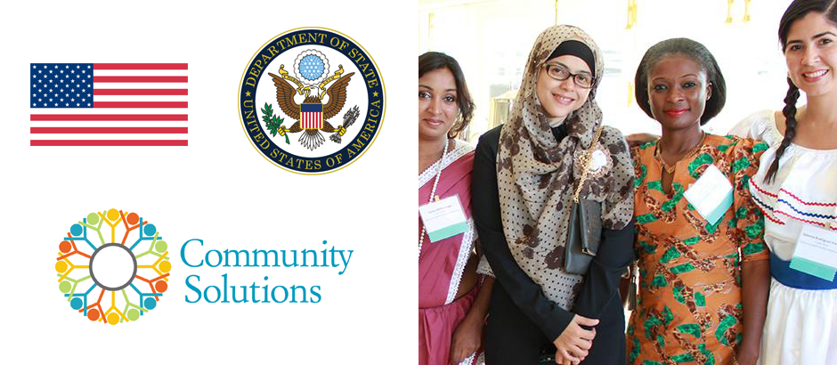 U.S. flag, State Department seal, Community Solutions logo, and photo of four Community Solutions participants