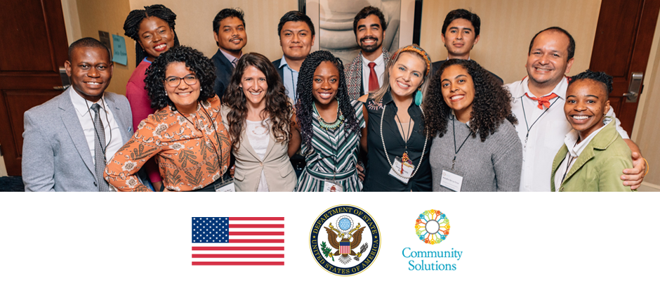 U.S. flag, State Department seal, Community Solutions logo, and photo of 13 Community Solutions participants