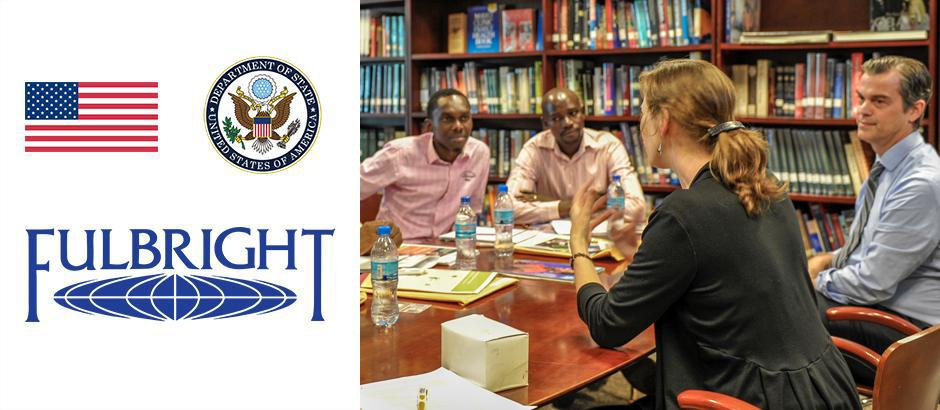 US flag, seal of the US Department of State, Fulbright logo, and photo of participants at a table
