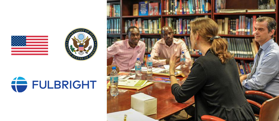 U.S. flag, seal of the US Department of State, Fulbright logo, and photo of participants at a table