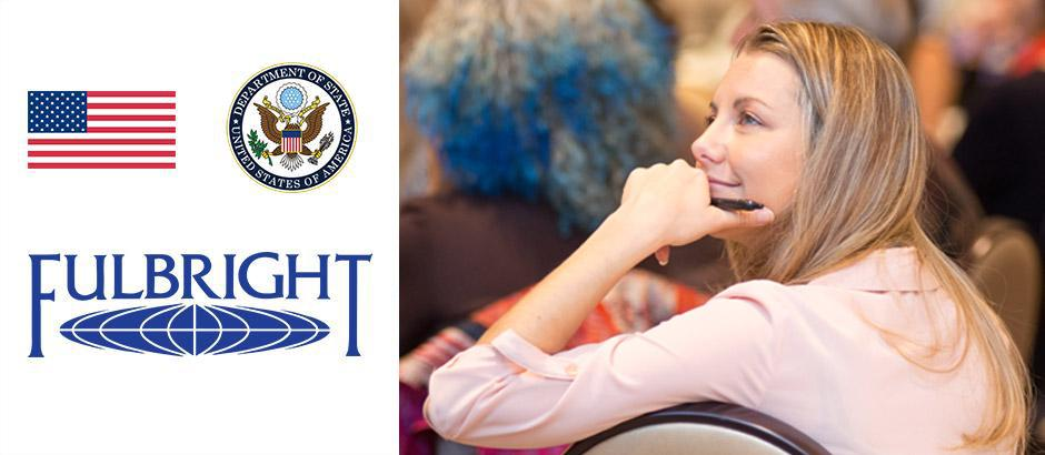 US flag, seal of the US Department of State, Fulbright logo, and photo of a teacher at a conference