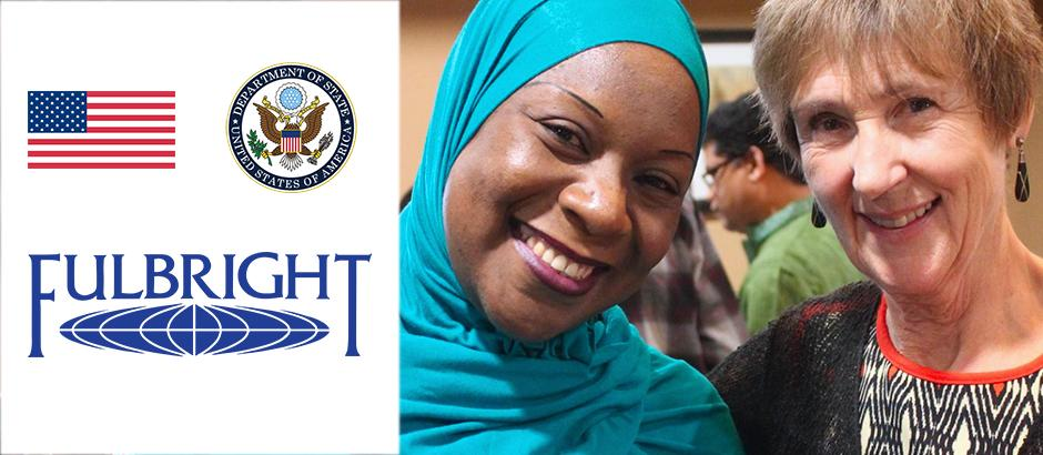 US flag, seal of the US Department of State, Fulbright logo, and photo of two teachers