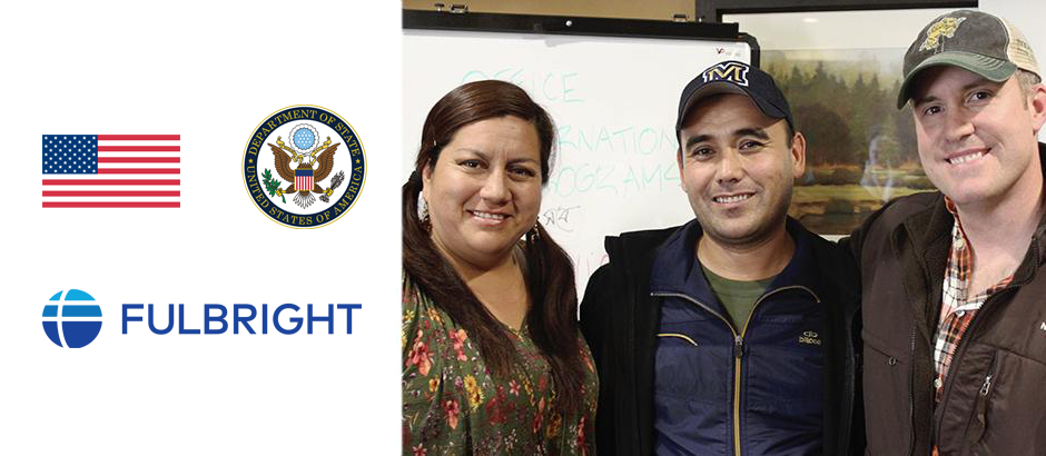 U.S. flag, seal of the U.S. Department of State, Fulbright logo, and photo of three teachers
