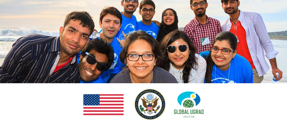 U.S. flag, State Department seal, Global UGRAD-Pakistan logo, and photo of program participants