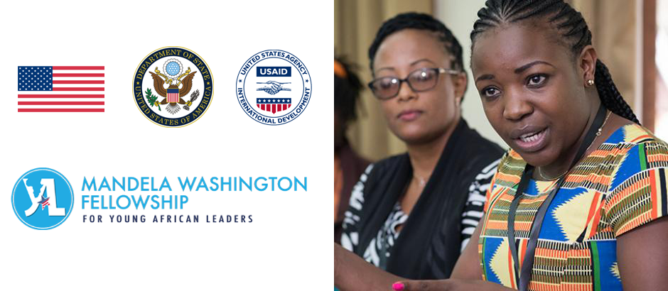 U.S. flag, U.S. Department of State's seal, USAID's seal, Mandela Washington Fellowship logo, and photo of two young African leaders