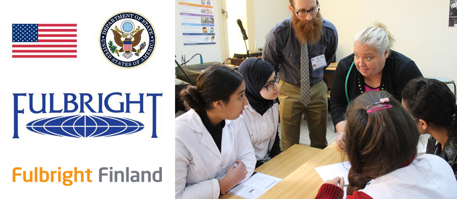 US flag, seal of the US Department of State, Fulbright logo, Fulbright Finland logo, and photo of participants at a table