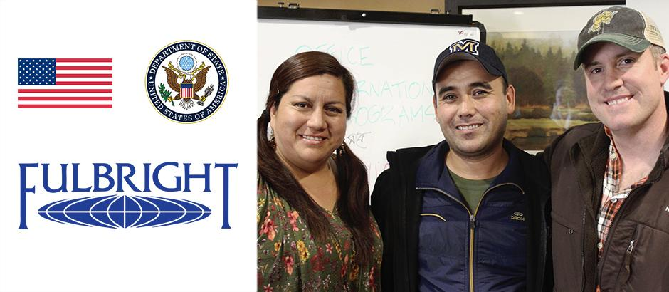 US flag, seal of the US Department of State, Fulbright logo, and photo of three teachers